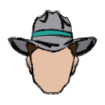 painting: Cowboy face portrait of strong man vector illustration