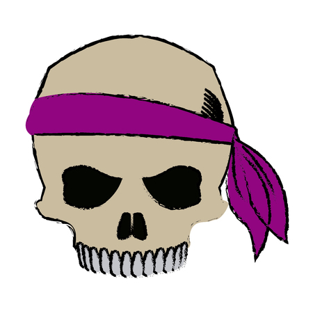 pirate half skull with bandana character vector illustration