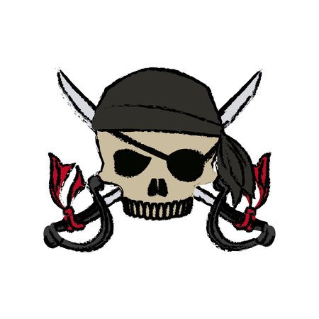 cartoon pirate skull hat patch eye with cross swords vector illustration