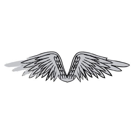 painting: graffiti wings feathers decoration design image vector illustration Illustration