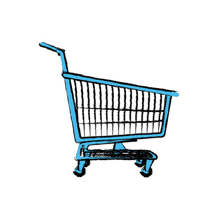shopping cart basket market push vector illustration