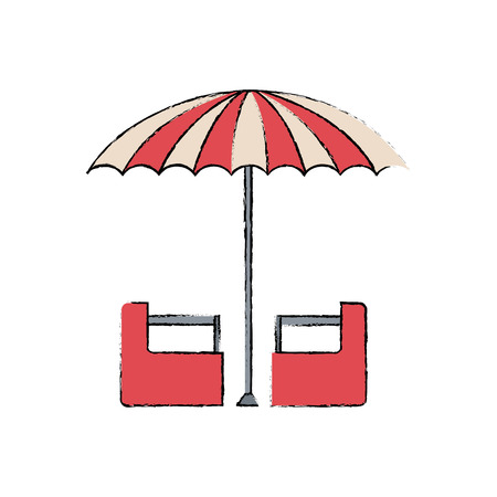 red and white umbrella circus equipment vector illustration