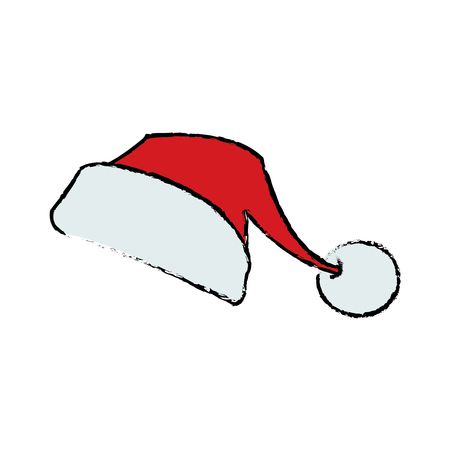 santa claus cartoon hat style symbol decoration template vector illustration