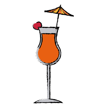 Alcohol drink icon cold cocktail with umbrella in glass vector illustration