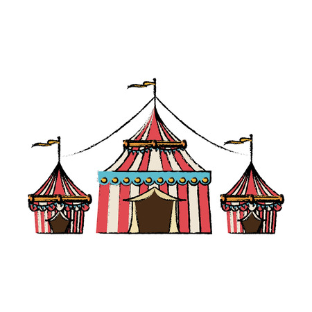 Circus tent tops stripes flag on top vector illustration