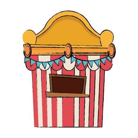 circus tickets sale kiosk cartoon booth pennant vector illustration