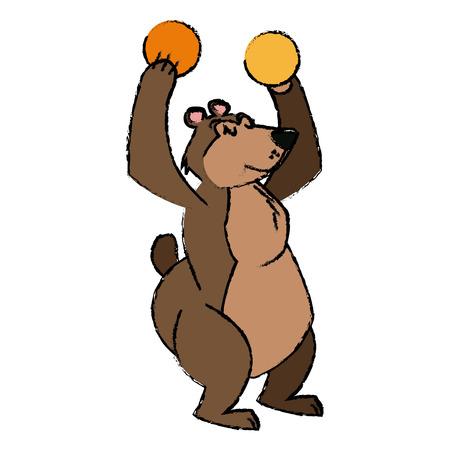 Circus bear animal show balls carnival vector illustration