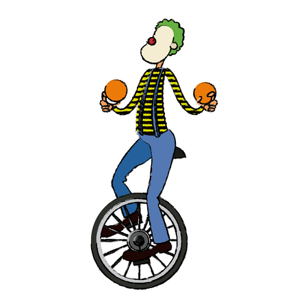 Funny clown juggling balls while riding unicycle one wheeled bicycle cartoon vector illustration