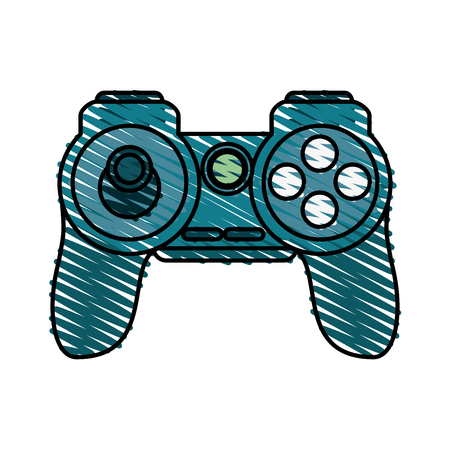 obsession: game controller doodle over white background vector illustration