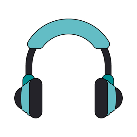 earphone: Teal headphones over white background vector illustration