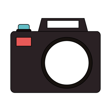 photographing: Vintage black camera over white background vector illustration