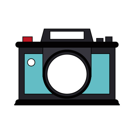 photographing: Vintage teal camera over white background vector illustration