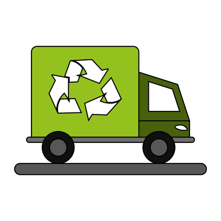 fresh idea: Recycling cargo truck over white background vector illustration