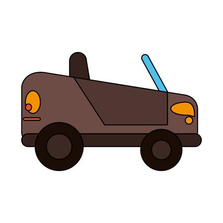 Leuke kleine auto over witte vectorillustratie als achtergrond Stock Illustratie