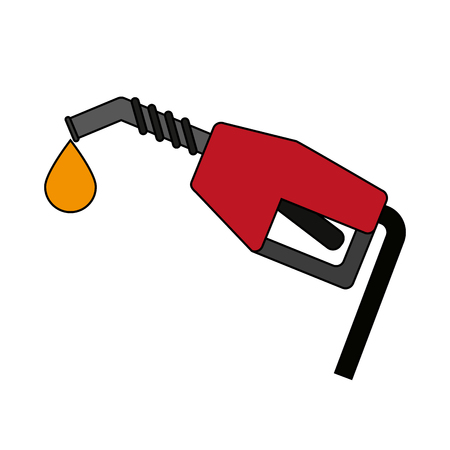 Gas pump nozzle over white background vector illustration