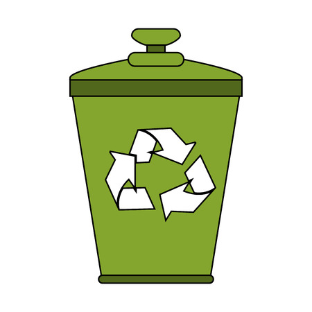 Recycle can over white background vector illustration