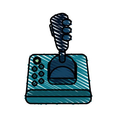 joystick doodle over white background vector illustration Illustration