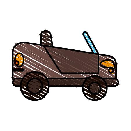 kleine auto doodle over witte achtergrond vector illustratie Stock Illustratie