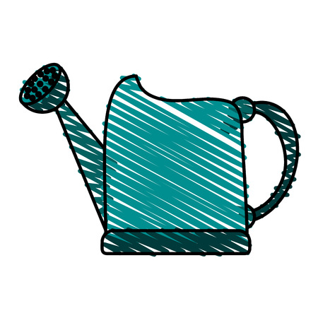 watering can doodle over white background vector illustration