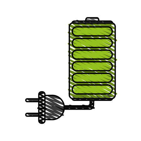 rechargeable: battery and plug doodle over white background vector illustration