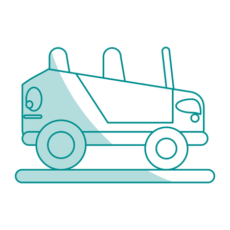 cabrio: Flat line monocromatic car over white background vector illustration Illustration