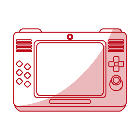 gamepad: Flat line monocromatic game console  over white background vector illustration Illustration