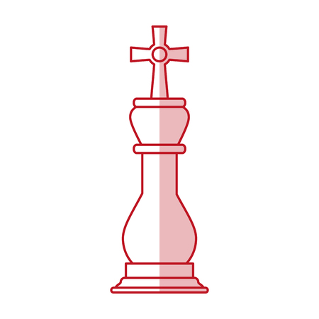 Flat line monocromatic king chess piece over white background vector illustration Illustration
