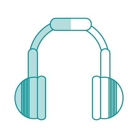 portable audio: Flat line monocromatic headphones over white background vector illustration Illustration