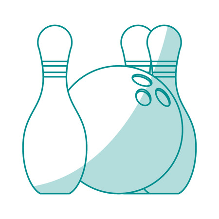 Flat line monocromatic bowling pins and ball over white background vector illustration 向量圖像