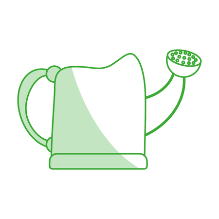 Flat line monocromatic watering can over white background vector illustration