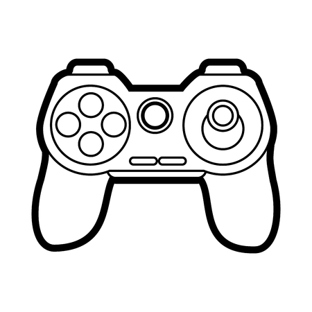obsession: Flat line controller over white background vector illustration