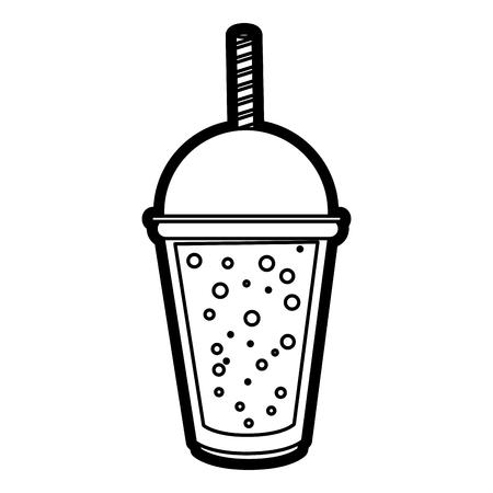 Flat line smoothie over white background vector illustration