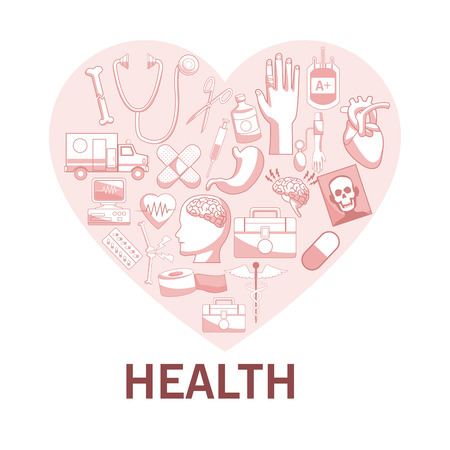 white background with red color sections of silhouette heart shape with elements health vector illustration Illustration