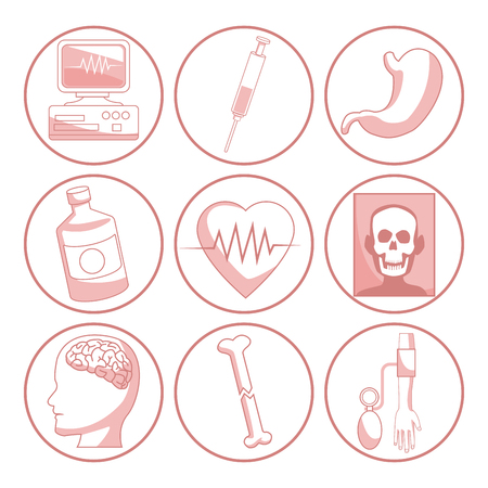 white background with red color sections of silhouette icons health vector illustration