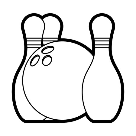 Flat line bowling pins and ball over white background vector illustration 向量圖像
