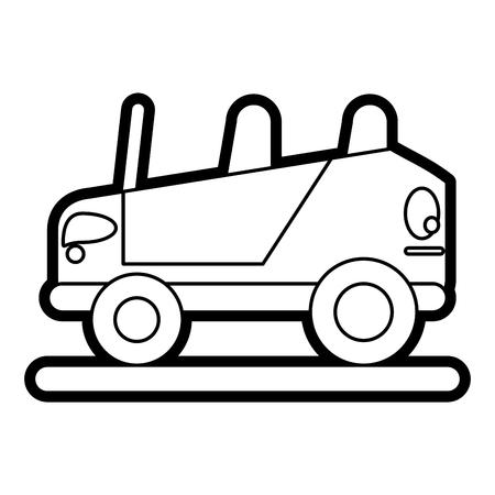 Vlakke lijnauto over witte vectorillustratie als achtergrond