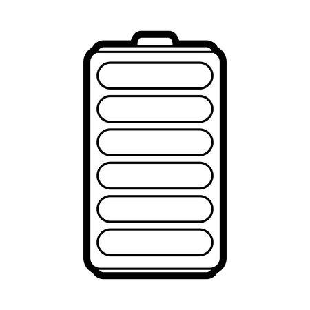 rechargeable: Flat line battery over white background vector illustration