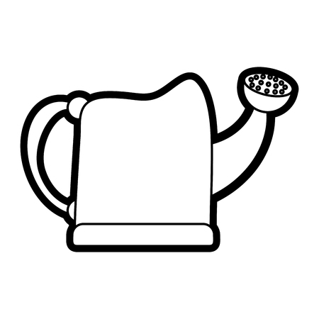 Flat line watering can over white background vector illustration Çizim