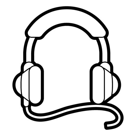 Flat line headphones over white background vector illustration