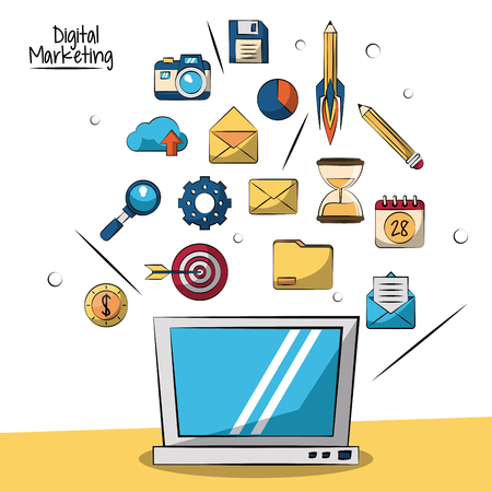 poster of digital marketing with laptop computer in closeup and smaller marketing icons in background vector illustration Illustration