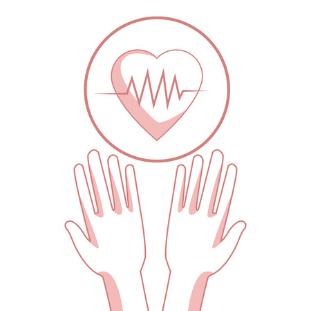 white background with red color sections of silhouette hands holding a floating heartbeat in circular frame vector illustration