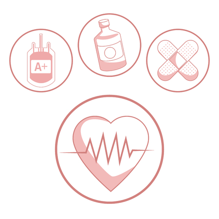 white background with red color sections of silhouette hearbeat and icons health in circular frame vector illustration Ilustração