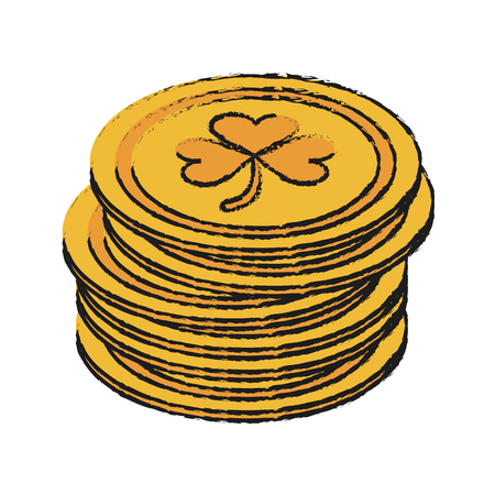 st  patrick's day: coins with shamrock or clover saint patricks day icon image vector illustration design Illustration
