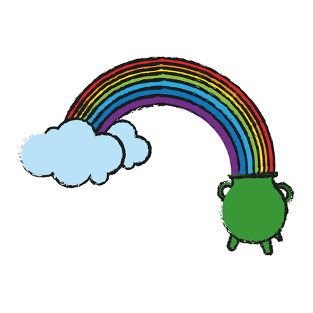 simple frame: pot of gold at the end of rainbow saint patricks day icon image vector illustration design