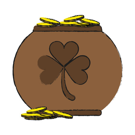 st  patrick's day: pot of gold with shamrock or clover saint patricks day icon image vector illustration design