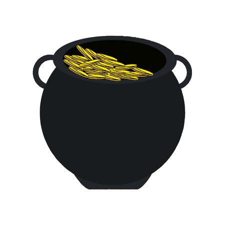 st  patrick's day: pot of gold saint patricks day icon image vector illustration design Illustration