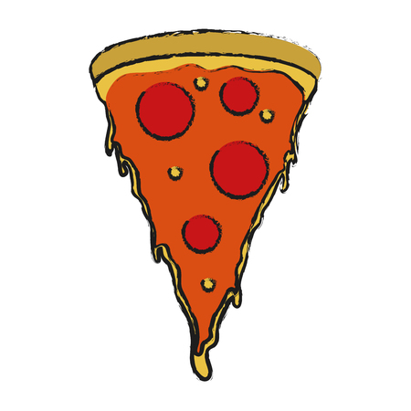 pizza slice fast food icon image vector illustration design Illustration