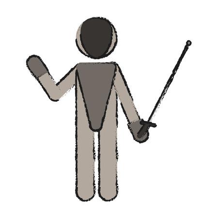 fencing athlete icon image vector illustration design Ilustração