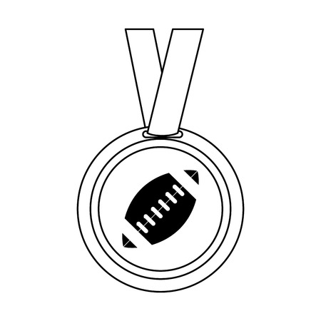 lacing: medal with ball american football icon image vector illustration design  black and white
