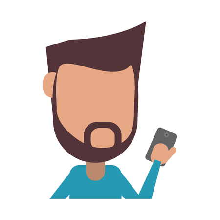 faceless bearded man using smartphone icon image vector illustration design